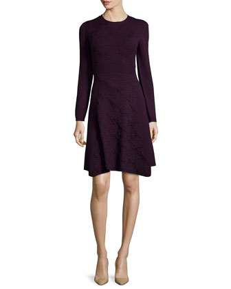 Cashmere-Blend Textured Lace-Knit Long-Sleeve Dress, Plum