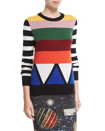 Sonia Striped Jewel-Neck Cashmere Sweater, Multi Colors