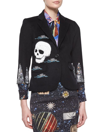 Collage Fringe Double-Button Blazer, Black