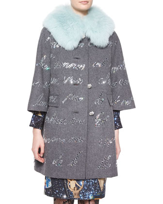 Fur-Collar Embellished Coat, Gray