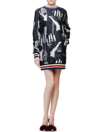 Surreal Hands-Print Sweatshirt Dress