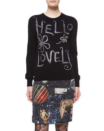Hello Lovely Cashmere Embellished Sweater, Black
