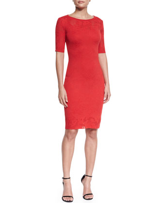Jardin Knit Sheath Dress & Crystal Stud Earrings