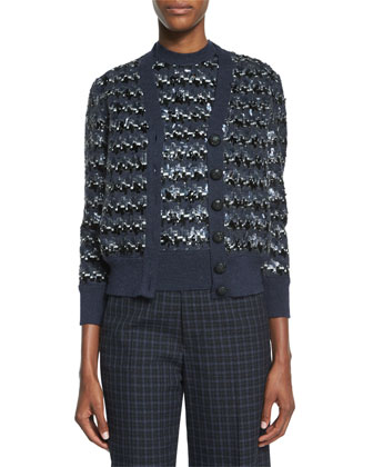 Houndstooth Sequined Knit Cardigan
