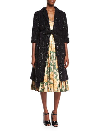 Allover Sequined Knit Coat & V-Neck Floral Ikat Fit-And-Flare Dress