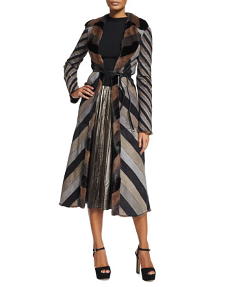 Reversible Chevron Striped Mink Coat, Sleeveless Backwards Knit Sweater & ...