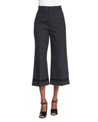 Cropped Wide-Leg Beaded Pants