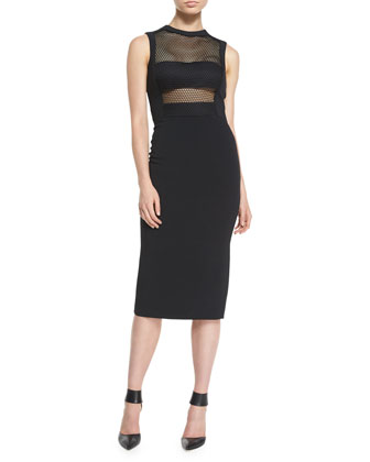 Netted Bandeau Sheath Dress
