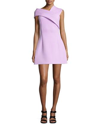 Asymmetric-Banded Mini Dress, Lilac