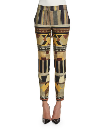 Geometric Ponte Skinny Pants, Honey Gray