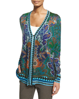 Long-Sleeve Floral & Geometric Cardigan & Medallion-Print Skinny Cropped Pants