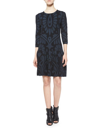 3/4-Sleeve Damask Dropped-Waist Dress