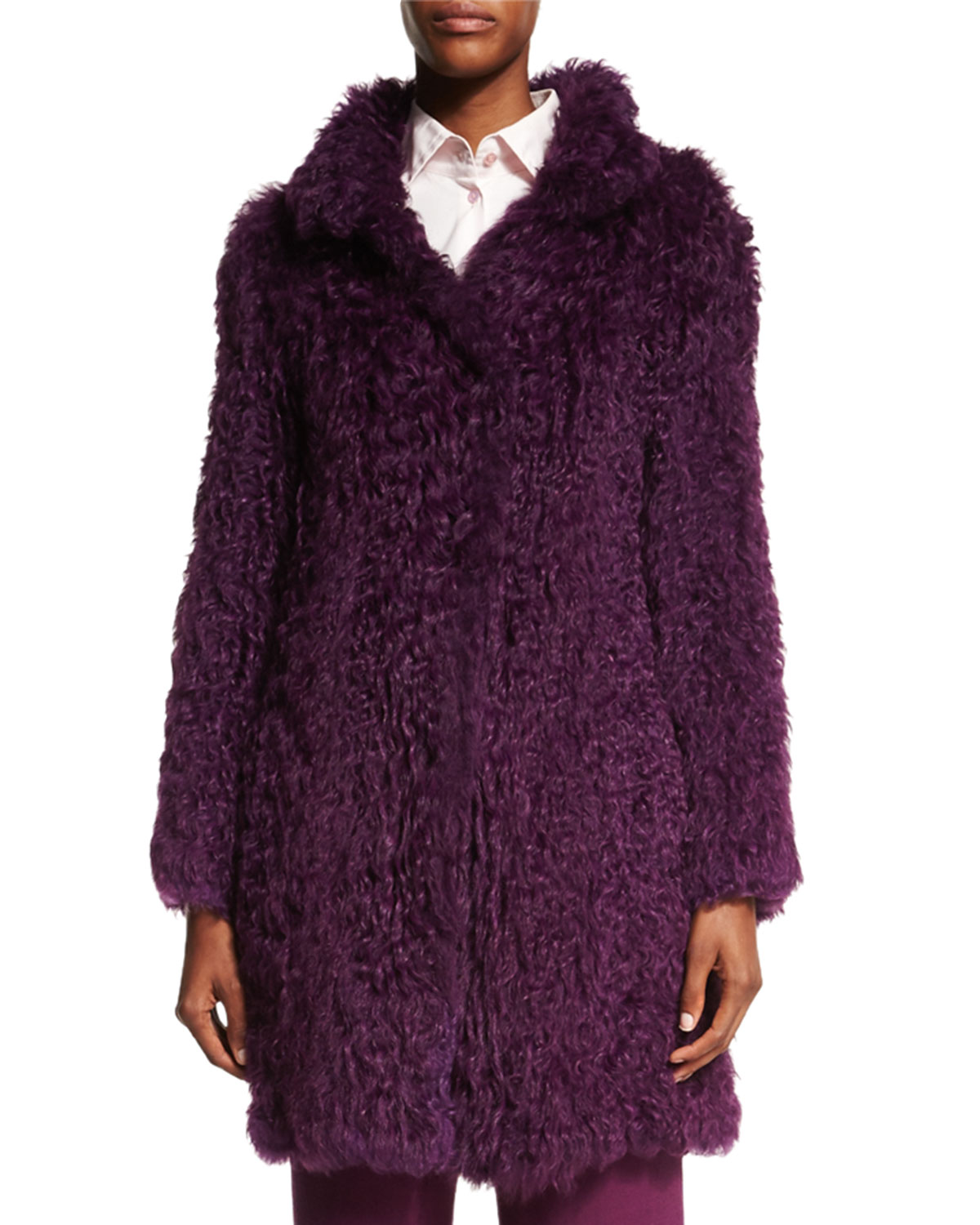 Curly Lamb Fur Long-Sleeve Coat, Amethyst (Purple), Size: 10/40 - Escada