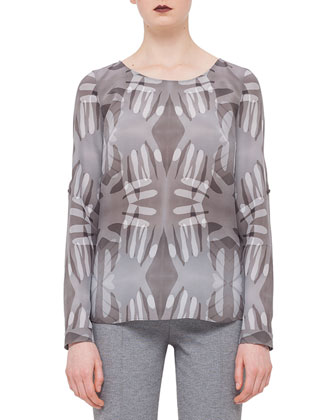 Roll-Up-Sleeve Handprint Blouse & Mara Seamed Skinny Jersey Pants