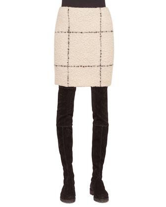 Textured Check Short Pencil Skirt