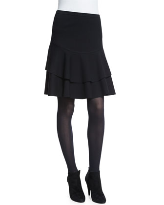 Layered Flounce-Hem Skirt, Black