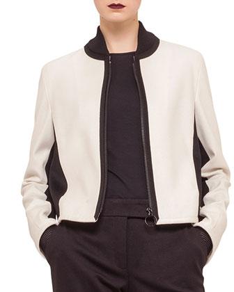 Two-Tone Zip-Front Blouson Jacket, Contrast Net-Sleeve Jersey Top & Jersey ...