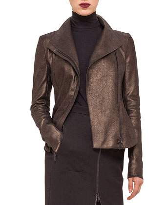 Metallic Leather Moto Jacket, Modal Jersey Turtleneck Top & Zip-Front ...
