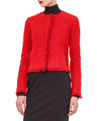 Boucle Fringe-Trimmed Jacket, Modal Jersey Turtleneck Top & Layered ...