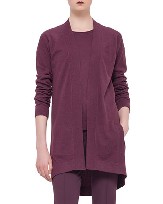 Long-Sleeve Open-Front Cardigan, Garnet