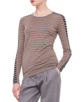 Striped Contrast-Trimmed Sweater, Camel/Silver/Black