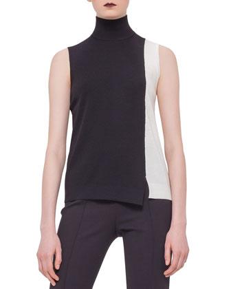 Sleeveless Colorblock Top, Black/Cream