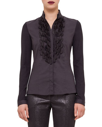 Embellished Button-Front Shirt, Black