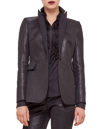Fitted One-Button Tuxedo Jacket, Embellished Button-Front Shirt & Frankie ...