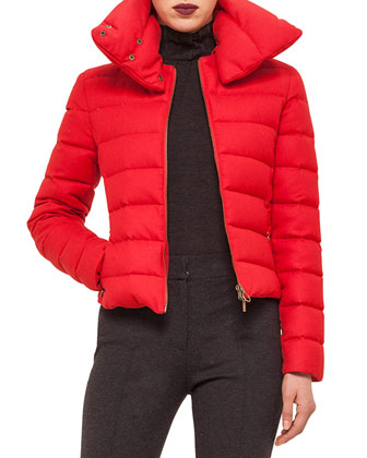 Hooded Stripe-Quilted Short Puffer Coat