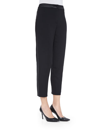 Satin-Trim Tuxedo Ankle Pants, Black