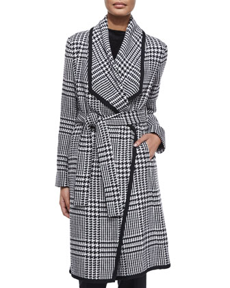 Houndstooth Draped Wrap Coat, Black/White