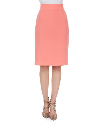 High-Waist Pencil Skirt, Soft Coral