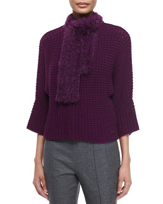Crochet Cardigan W/Removable Fur Scarf, Round-Neck Fitted Tank & Hepburn ...