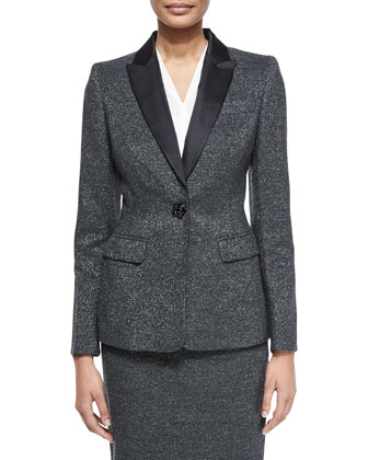 Long-Sleeve Metallic Tuxedo Jacket, V-Neck Cap-Sleeve Silk Shell & Pencil Skirt