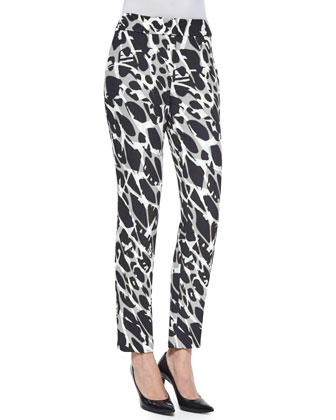Tina Marble-Print Slim-Leg Pants, Black Multi