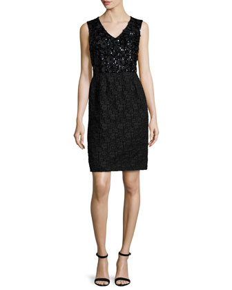 Sleeveless Sequined & Lace Dress, Black