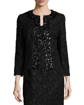 Open-Front Lace Jacket W/Sequined Trim, Black