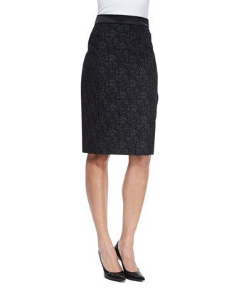 High-Waist Winter Lace Pencil Skirt, Black