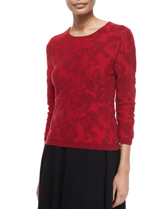 3/4-Sleeve Floral Intarsia Pullover Top, Cherry