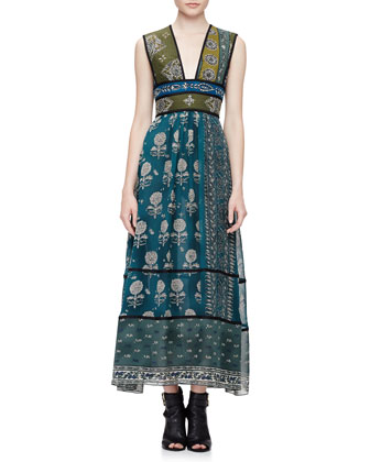 Sleeveless Geometric Floral-Print Long Dress, Teal Blue