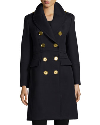 Double-Breasted Military-Style Trenchcoat, Navy