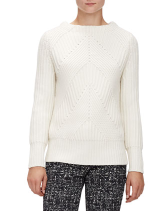 Ribbed Transfer Jewel-Neck Sweater, Natural White