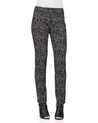 Mid-Rise Skinny Trousers, Black/White