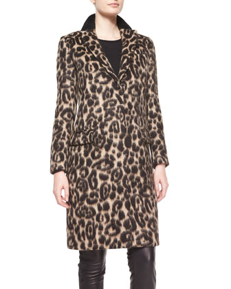 Slim Animal-Print Coat with Taping