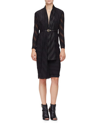 Long-Sleeve Wide-Stripe Belted Dress, Black