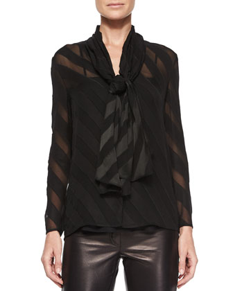 Angled-Stripe Self-Tie Blouse, Black