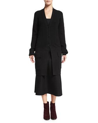 Button-Front Long Cardigan & High-Waist A-Line Midi Skirt