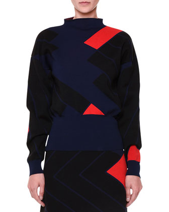 Geometric Jacquard Knit Sweater