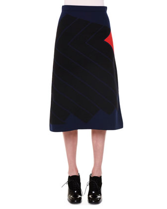 Geometric Jacquard Knit Sweater & A-Line Skirt