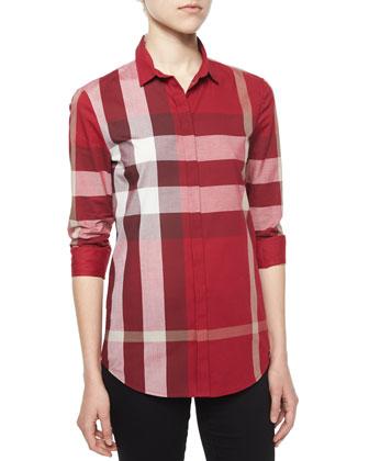 Long-Sleeve Placket-Front Check Shirt, Peony Rose